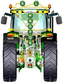 Identificación de elementos de iluminación en vista trasera del tractor