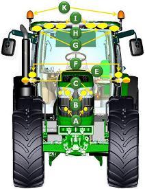 Identificación de elementos de iluminación en vista frontal del tractor