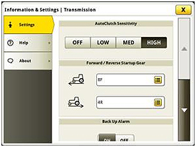 Información de sensibilidad y ajustes del AutoClutch