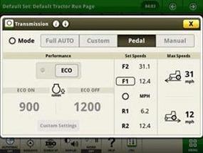 La página del modo de pedal (solo se puede activar/desactivar con el tractor estacionado)