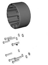Extensión de vía para eje delantero - 2 espaciadores de 219 mm (8,62 in) cada uno - ancho de vía extendido a 2.250 mm (88,6 in).