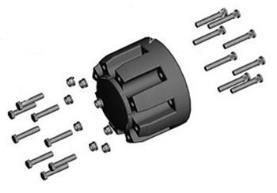 Extensión de ancho de vía para eje trasero - 2 espaciadores de 219 mm (8,62 in) cada uno - ancho de vía extendido a 2.250 mm (88,6 in).
