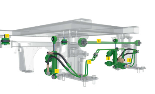 La suspensión hidráulica de cabina (HCS) adaptativa aumenta la productividad del operador y reduce los efectos del cansancio