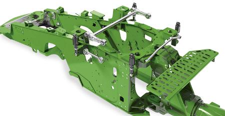 En los tractores 9RX, la suspensión de cuatro postes aísla la cabina de los impactos para ofrecer la máxima comodidad