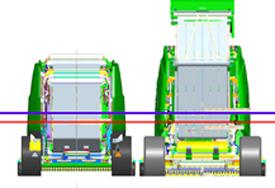 Comparaison du centre de gravité des modèles 990 (rouge) et 864 (bleu)