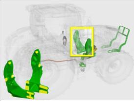 Structures de montage montées sur le châssis du tracteur