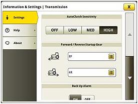 Réglages et des informations pour la sensibilité de AutoClutch