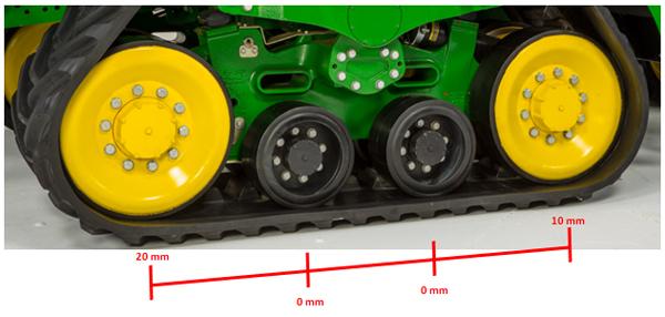 Le galet tendeur avant est surélevé de 20mm (0,78po) par rapport aux deux galets intermédiaires.