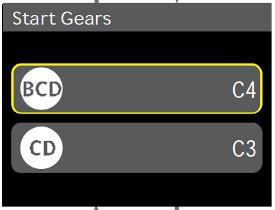 Réglages du rapport de démarrage initial sur la console d'angle