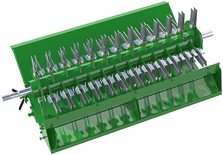 Deluxe chopper with 44 rotating and 44 stationary counter knifes
