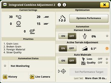 Integrated Combine Adjustment 2 run page