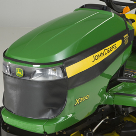 Winter grille cover shown on X300 Tractor