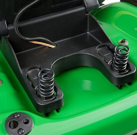 Seat springs are adjustable for operator weight