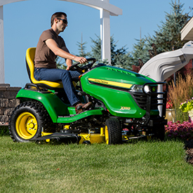 X590 mowing in a tight turn