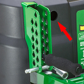 Cut-height pin doubles as tracking adjustment tool