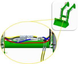 Čelní nakladač H260 s konstrukcí krytu roury hnacího hřídele