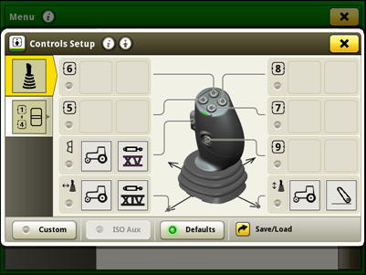 Controls setup for the electrical joystick in factory setting mode (default)