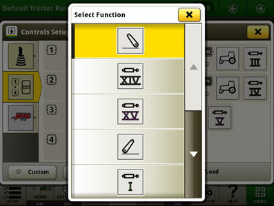 Example of function selection for one of the buttons on the electrical joystick