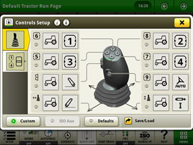 Example of controls setup for electrical joystick (functions are activated in the custom mode)