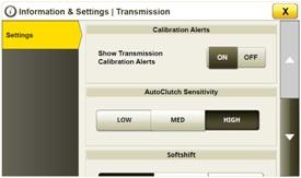 Additional transmission settings