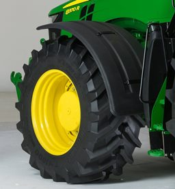 Deluxe, pivoting front fender on a 7R Tractor