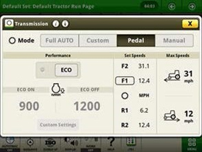 Pedal mode page (can only be enabled/disabled in park)