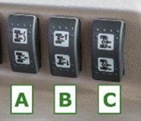 Comfort implement control switches