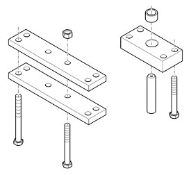 Center-link bracket for monoblock pick -up weights, 900 kg or 1150 kg