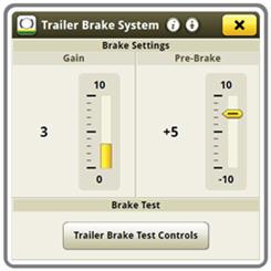 Trailer brake system screen