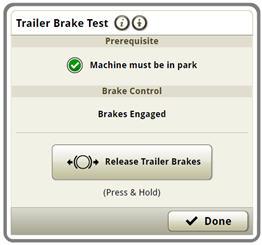 Trailer brake test screen