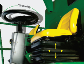 Tiltable steering column and adjustable seat