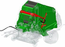 Appositi cilindri per la sponda posteriore e sistema di densità, insieme al blocco della sponda meccanica