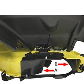 Deflettore MulchControl™ posteriore (A) che deve essere rimosso per la raccolta in sacchi