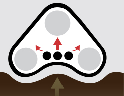 Design di altri produttori: le vibrazioni vengono trasmesse direttamente verso l'alto, nel pignone motrice e nell'assale