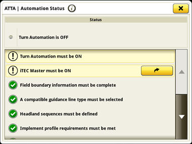 AutoTrac Turn Automation set-up page