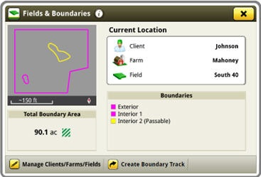 See current boundaries in a field on the display