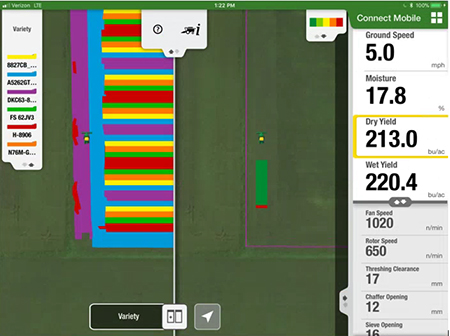 Connect Mobile split-screen view lets users compare a previous planting layer with current harvest layer, giving the operator instant understanding of variety performance