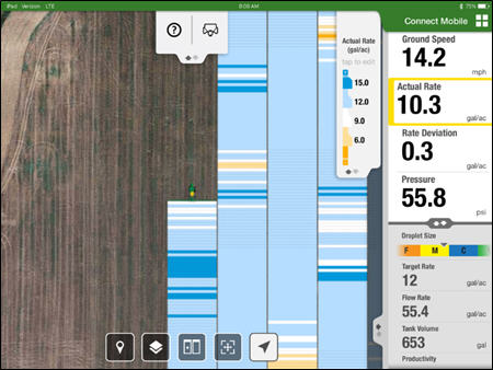 Connect Mobile showing an actual rate map and monitoring the sprayer performance