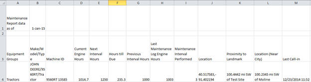 Example of maintenance report