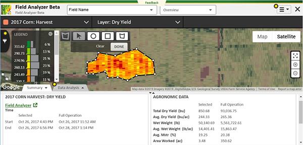 Field Analyzer Beta corn harvest layers show yield