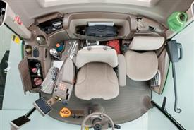 Overhead view of cab interior