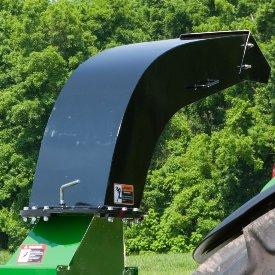 Adjustable discharge chute with handle