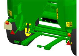 Unloading ramp gives smooth/fast bale ejection