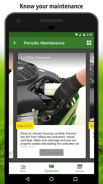 MowerPlus app maintenance screen