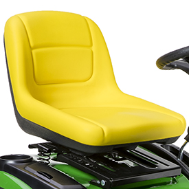 High-back seat mounted on adjustable suspension
