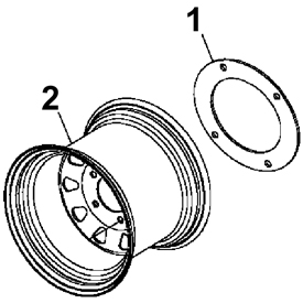 Wheel weight adapter ring (1) and wheel (2)