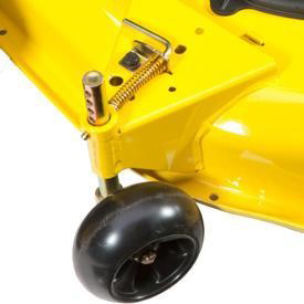 Spring-loaded mower wheel height-adjusting pin