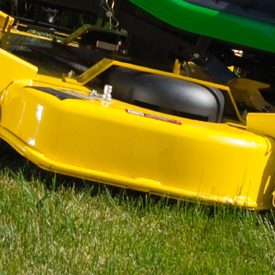 Side view of mower deck