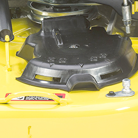 Hinged spindle pocket cover on the 42A Mower