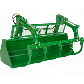 Five-tine round bale/silage grapple with grille